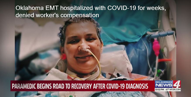 Oklahoma EMT hospitalized with COVID-19 for weeks, denied worker's compensation Image